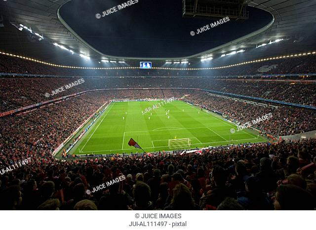Inside Allianz Arena, Soccer Stadium at night, Munich, Germany