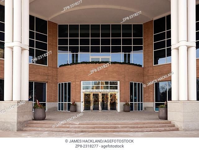 The main entrance to Brampton's City Hall in downtown Brampton, Ontario, Canada