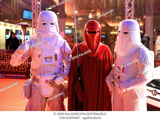 Dressed up fans in Star Wars costumes wait on the red carpet at the Zoo Palast in Berlin, Germany, 16 December 2015. This evening the premiere of the new...