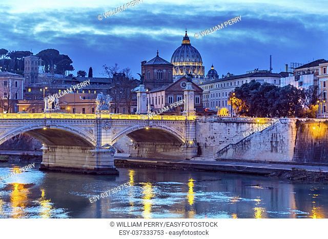 Vatican Dome Tiber River Ponte Bridge Vittorio Emanuele III Rome Italy. Bridge built in 1886 near Vatican