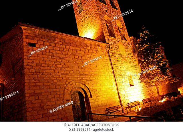 Santa Maria church at night, Castellar de n'Hug, Catalonia, Spain