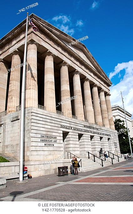 USA Washington DC, exterior of the National Portrait Gallery, a Smithsonian Art Museum  Building is the Donald W Reynolds Center for American Art and...