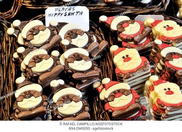 Christmas chocolates for sale, shaped like santa Claus. Sant Josep aka La Boqueria market. Barcelona, Catalonia, Spain