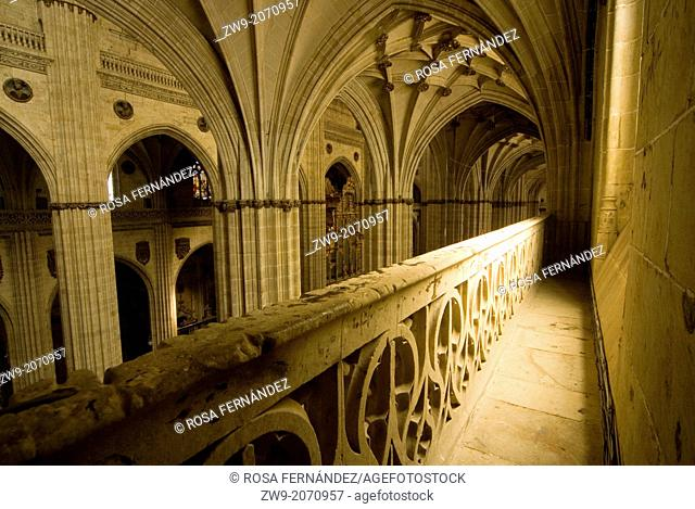 Interior of Cathedral of Santa Maria with rib vaults and view from the triforium, Salamanca, Castilla y Leon, Spain