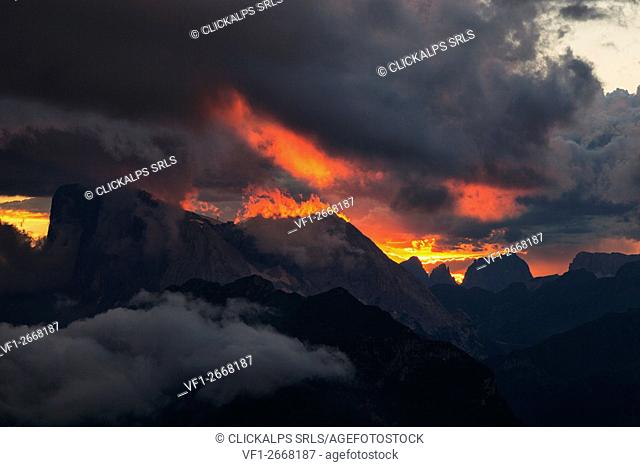 Marmolada group from Col Reàn, Dolomites, Alleghe, Belluno, Veneto, Italy