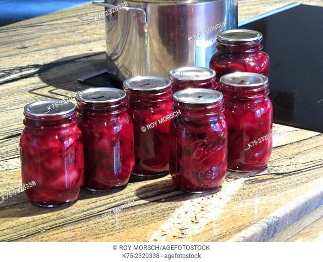 Homemade canned beets
