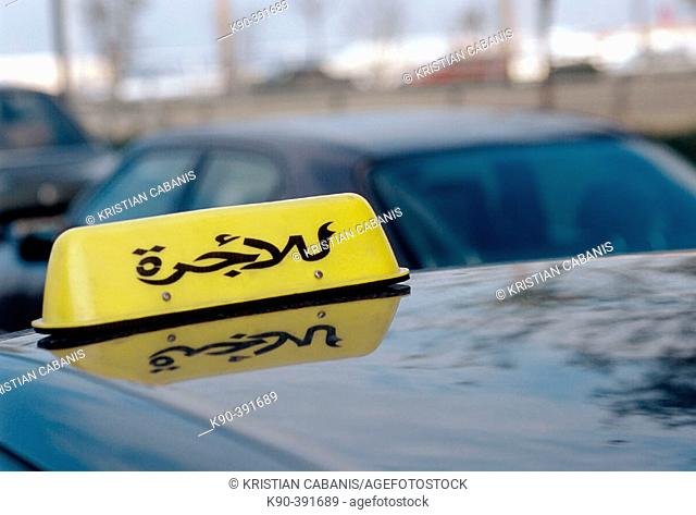 Taxi sign in Arabian writing, Beirut, Lebanon