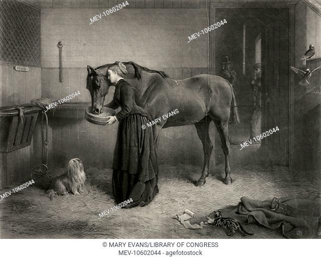 The farewell caress. Print showing a young woman feeding a horse and resting her head against its neck; a man, possibly the new owner, waits outside the stall