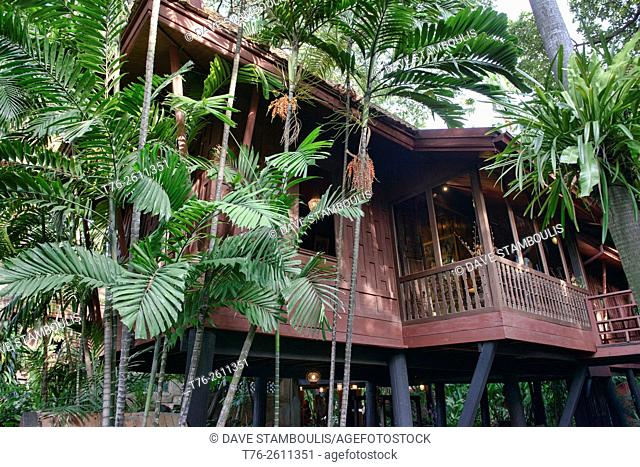Teak architecture at the Jim Thompson House and museum in Bangkok, Thailand