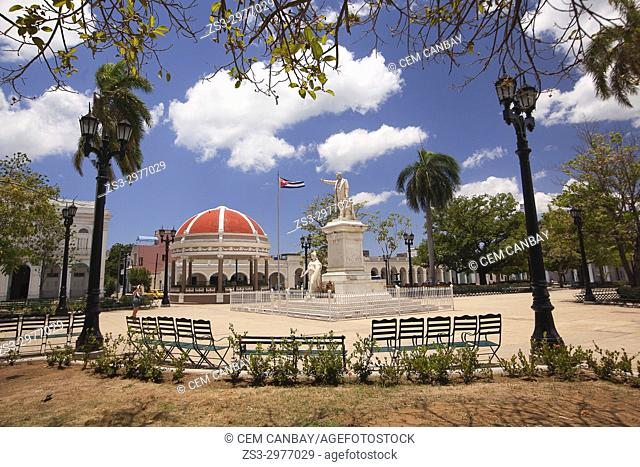 View to the Jose Marti Statue and Pavilion at Parque Jose Marti in Plaza de Armas Square, Cienfuegos, Cuba, West Indies, Central America