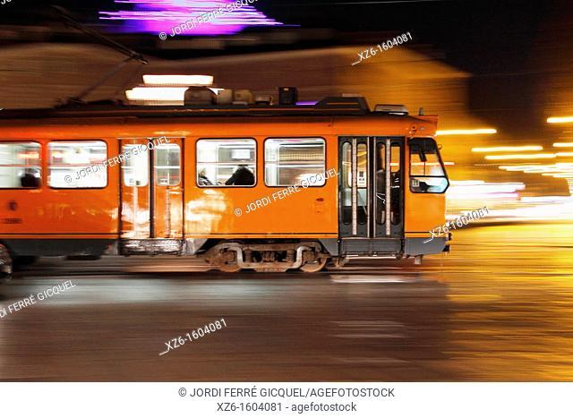 Tram at night, Torino, Italy, Europe