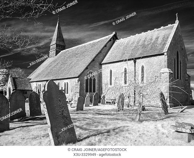 An infrared image of St Peter's Church in the town of Selsey in West Sussex, England