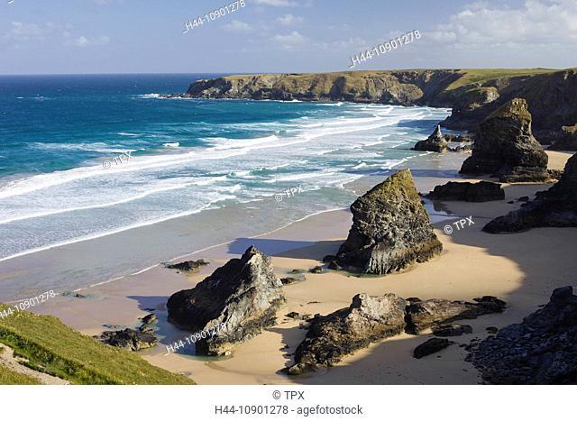 UK, United Kingdom, Europe, Great Britain, Britain, England, Cornwall, Bedruthan Steps, Beach, Beaches, Coast, Coastal, Coastal Views, English Coast