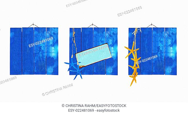 Blue beach theme wood plank backgrounds with starfish and metal plate for copy space isolated on white