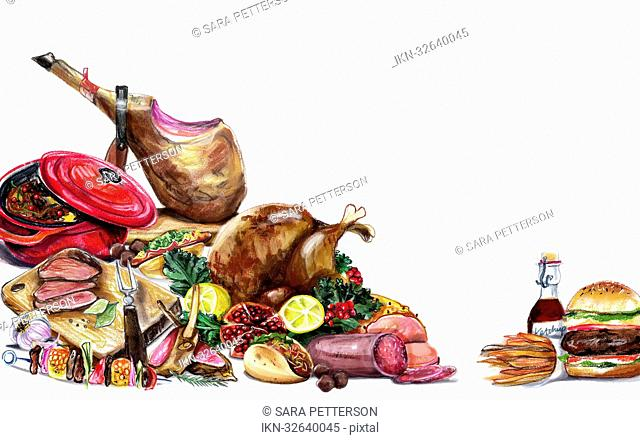 Variation of meat and white background