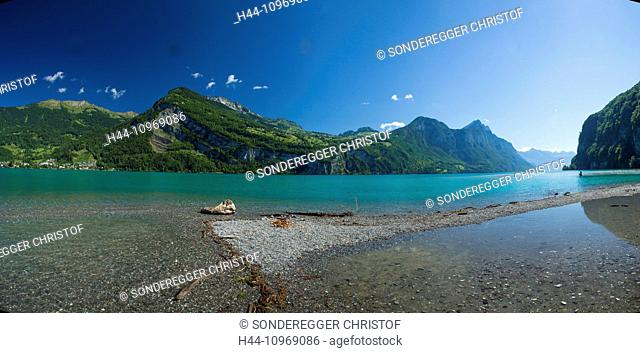 Walensee, Amden, ship, boat, ships, boats, lake, lakes, SG, canton St. Gallen, mountain, mountains, Switzerland, Europe