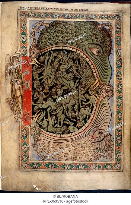 Harrowing of Hell Whole folio An angel unlocking the Door of Hell. Hell is represented as a great mouth within which are human beings and devils Image taken...