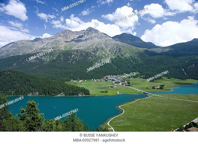 Switzerland, Graubünden, Engadin, Champferer lake, Surlej