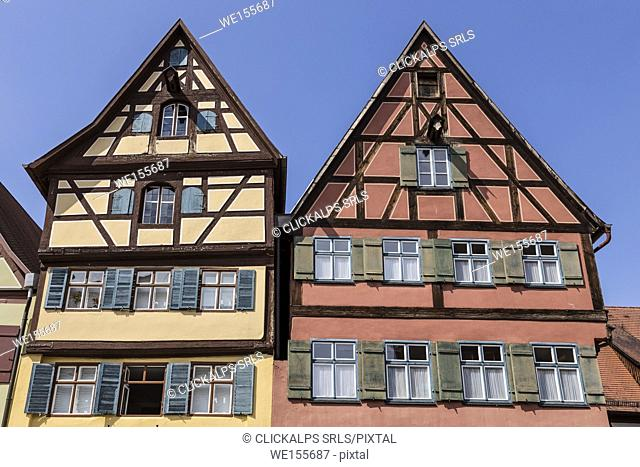 Dinkelsbühl, Bavaria, Germany, Europe. The typical houses in the Dinkelsbuhl