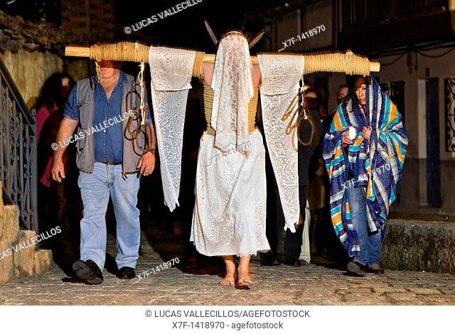 'Empalaos' impaleds, Holy Week in Valverde de la Vera  Empalao and family Caceres province, Extremadura, Spain