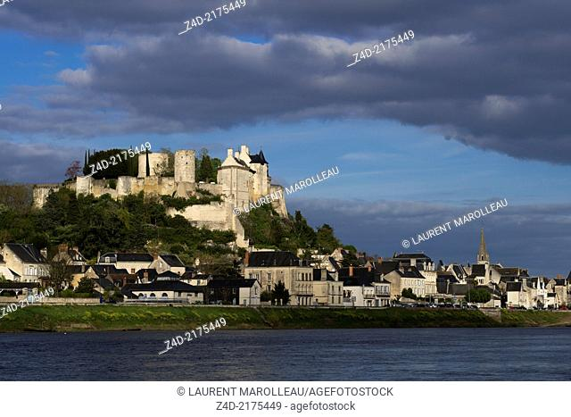 Chinon Fortress and Vienne River. The Royal Fortress of Chinon is situated in the Centre Val de Loire region, overlooking the town