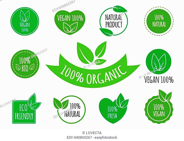 Set of vegan, organic, healthy food signs logos icons and labels. Healthy food badges, tags set for cafe, restaurants, products packaging etc