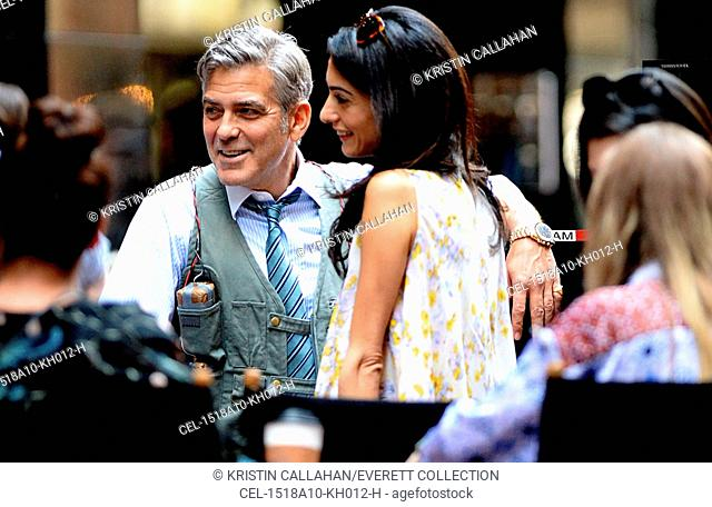 George Clooney, Amal Clooney on location for MONEY MONSTER Movie Shoot, , New York, NY April 18, 2015. Photo By: Kristin Callahan/Everett Collection