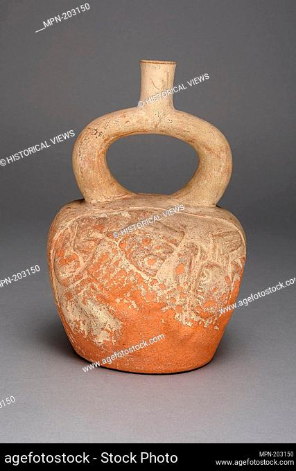 Stirrup Spout Vessel with Relief Depicting a Figure and Crab in Battle - 100 B.C./A.D. 500 - Moche Chimbote, Santa Valley, north coast, Peru - Artist: Moche