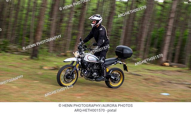 Side view of man riding motorcycle through forest, Nan, Mueang Chiang Rai District, Thailand