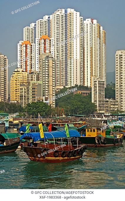 At the Aberdeen Harbour Sampan boat port, Aberdeen, Hong Kong