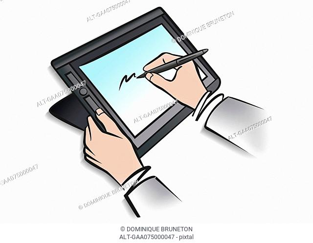 Illustration of person using digital tablet and stylus