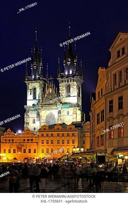 Czech Republic, Prague, Tyn Cathedral on Old Town Square