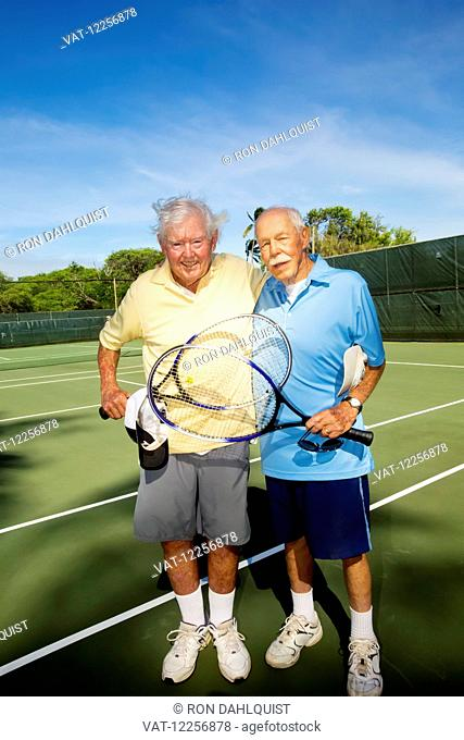 Senior men after playing tennis, 83 year old and 98 year old; Maui, Hawaii, United States of America