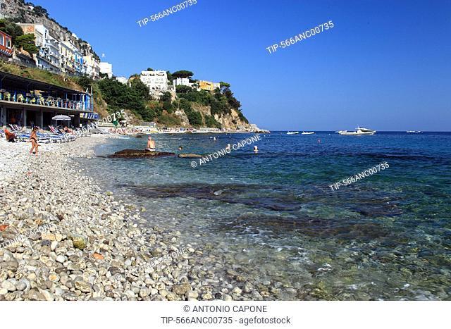 Italy, Campania, Capri, Marina Grande Beach