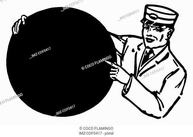 A black and white version of an illustration of a train conductor holding a round sign
