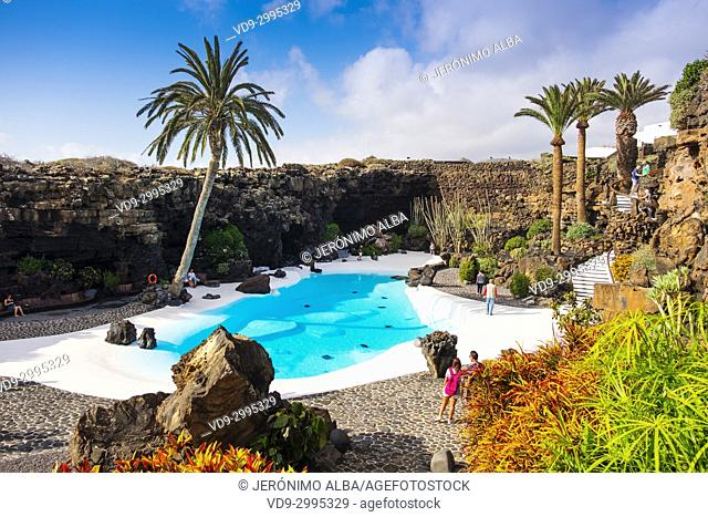 Garden and pool. Jameos del Agua. Art, Culture and Tourism Centre created by César Manrique. Haria. Lanzarote Island. Canary Islands Spain. Europe