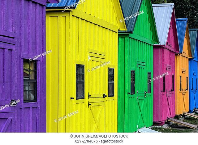 Colorful sheds at Lighthouse Point Park, Buffalo, New York, USA