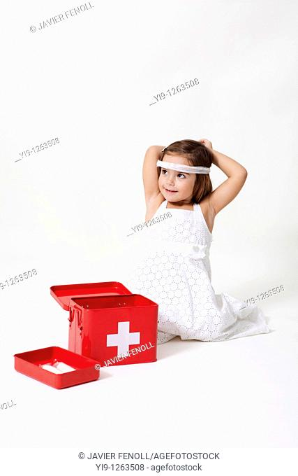 Girl playing with the kit cures