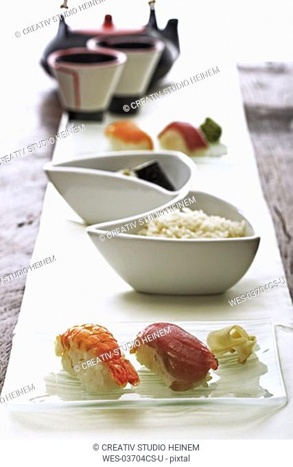 Japanese menu with sushi