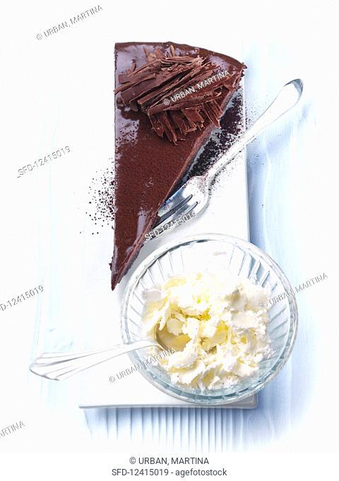Chocolate tart with vanilla granita