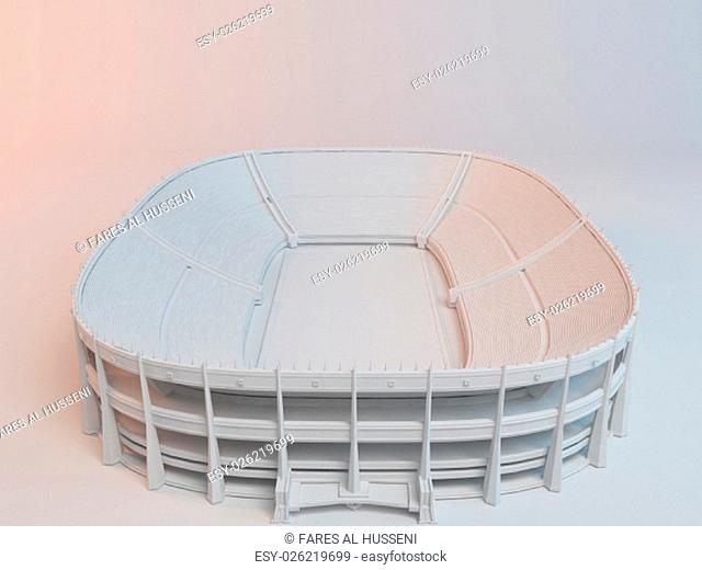 white 3d stadium inside a white stage