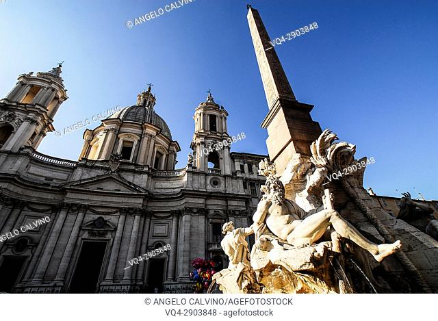 Sant'Agnese in Agone Church and Obelisk in The Fontana dei Fiumi, Piazza Navona, Rome, Italy