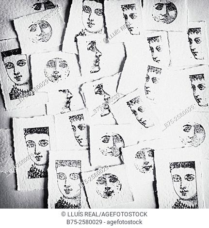 Multi image of rubber stamp lady faces stamped in pieces of paper