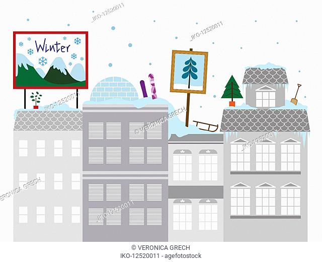 Colorful winter activities on the roof of gray apartment blocks