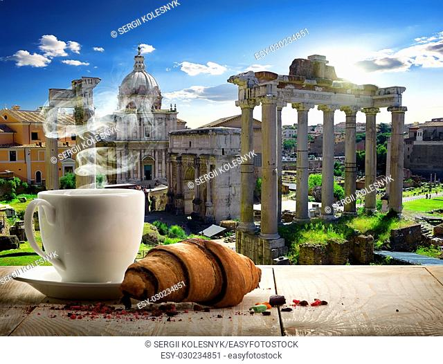 Coffee break in Roman Forum at sunny day, Italy