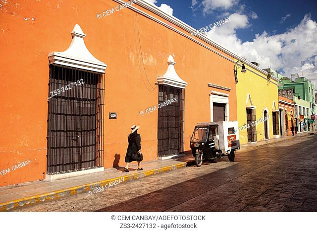 People walking in the street at the historic center of Merida, Yucatan Province, Mexico, Central America
