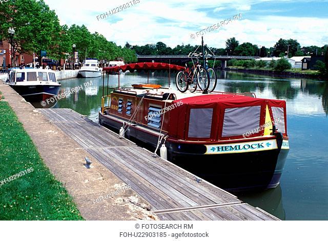 canal, Seneca Falls, NY, New York, Finger Lakes, Canal boats moored along the Cayuga-Seneca Canal