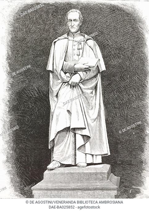 Monument to Antonio Rosmini (1797-1855), Italian philosopher and priest, statue by Vincenzo Consani (1818-1887), 1879, Rovereto, Italy