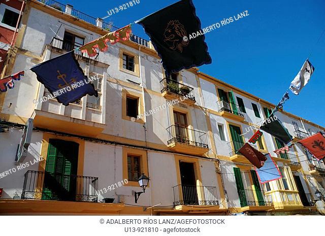 Residential apartment buildings, Plaça de la Vila, Dalt Vila old town, Ibiza, Balearic Islands, Spain