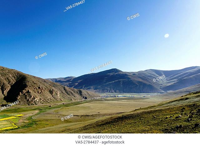 Bangda country, Tibet, China - The view of Bangda basin with perfect weather in the daytime